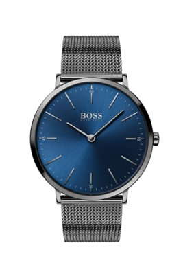 Grey-plated watch with mesh bracelet and blue dial, Dark Grey