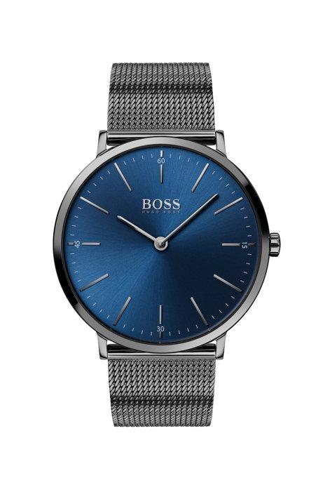 Grau beschichtete Uhr mit Mesh-Armband und blauem Zifferblatt, Dunkelgrau