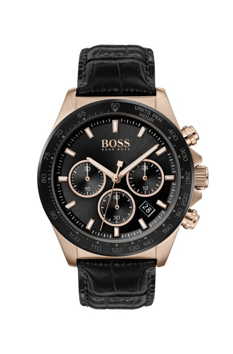 Carnation-gold-plated chronograph watch with black sunray dial, Black