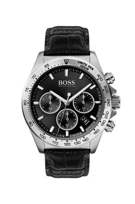 Stainless-steel chronograph watch with crocodile-embossed leather strap, Black