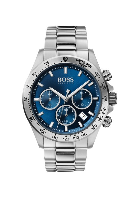 Stainless-steel chronograph watch with blue dial, Silver