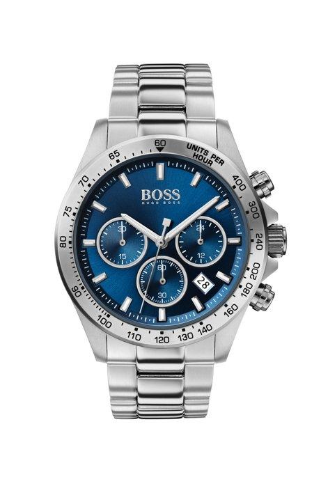 Cronografo in acciaio inox con quadrante blu, Argento