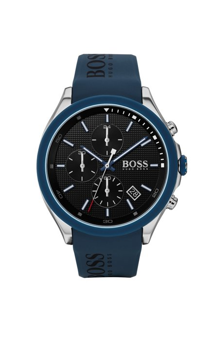 Stainless-steel chronograph watch with blue logo strap, Blue