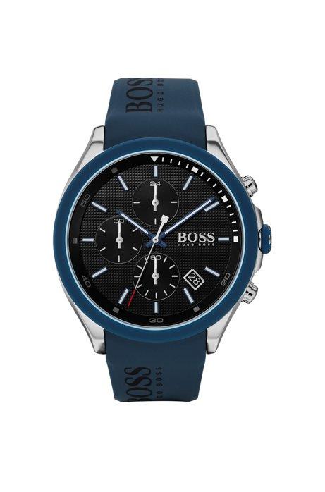 Cronografo in acciaio inox con cinturino blu con logo, Blu