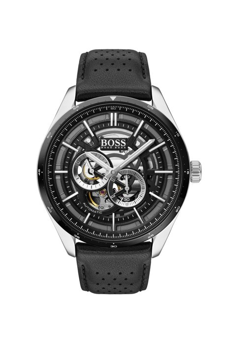 Skeleton-dial watch with perforated leather strap, Black