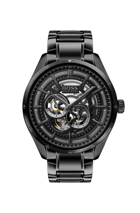 Black-plated watch with skeleton dial and link strap, Black