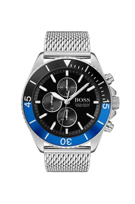 Uhr aus Edelstahl mit Mesh-Armband und zweifarbiger drehbarer Lünette, Silber