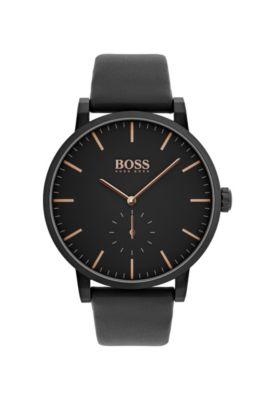Montre en acier inoxydable plaqué noir avec bracelet en cuir noir, Noir
