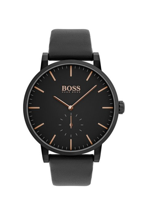 Black-plated stainless-steel watch with black leather strap, Black