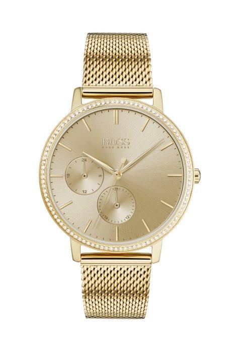 Uhr aus vergoldetem Edelstahl mit Swarovski®-Kristallen, Gold