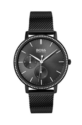Black-plated watch with crystals and mesh bracelet, Black