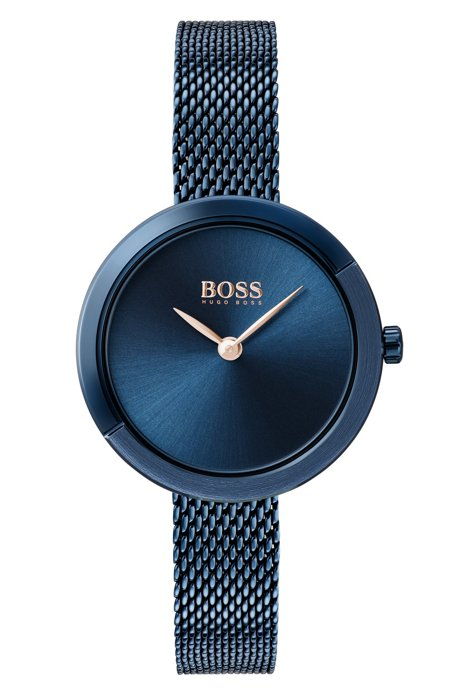 Blue-plated watch with blue dial and mesh bracelet, Dark Blue