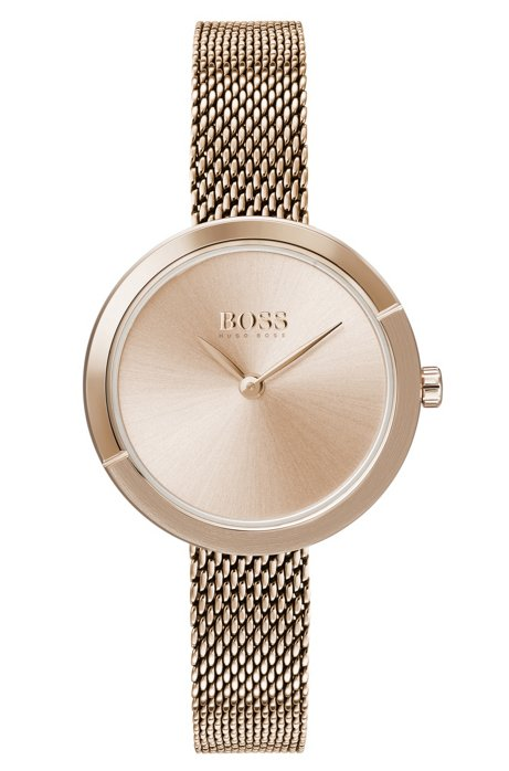 Carnation-gold-plated watch with slender mesh bracelet, Gold