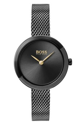Grey-plated watch with grey dial and mesh bracelet, Black