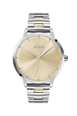 Stainless-steel watch with link bracelet and golden accents, Silver