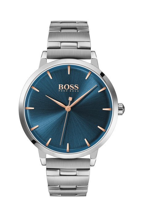 Stainless-steel watch with blue dial and link bracelet, Silver