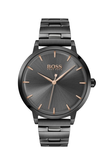 Grey-plated watch with grey dial and link bracelet, Black
