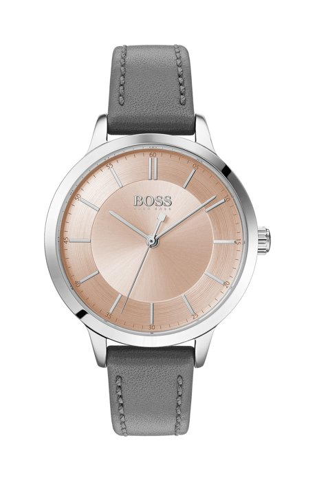 Stainless-steel watch with two-tier dial and leather strap, Grey