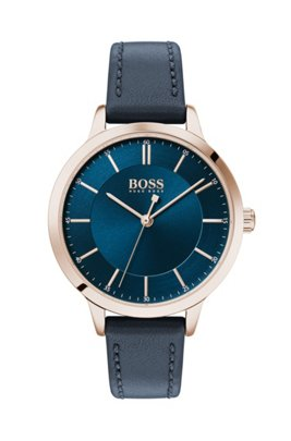 Carnation-gold-plated watch with blue two-tier dial, Dark Blue