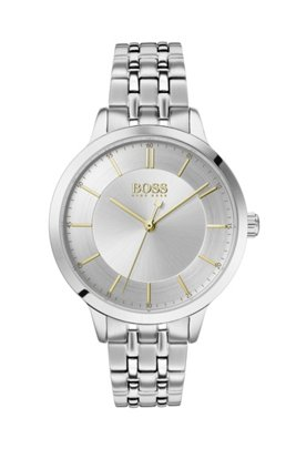 Stainless-steel watch with two-tier dial and link bracelet, Silver