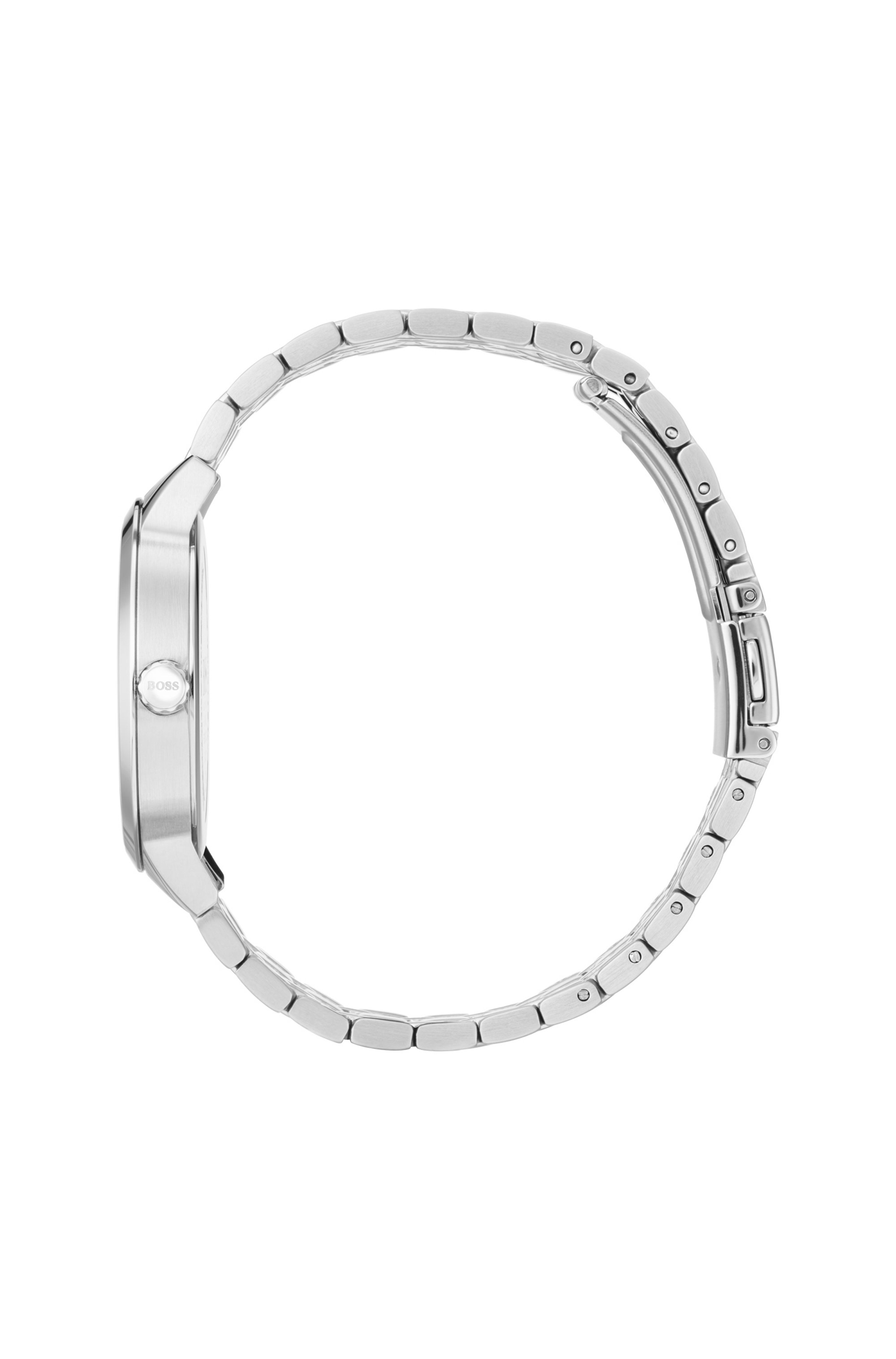 Stainless-steel watch with two-tier dial and link bracelet