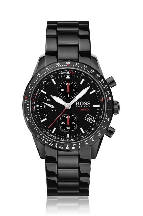 Chronograph watch in black-plated stainless steel, Black