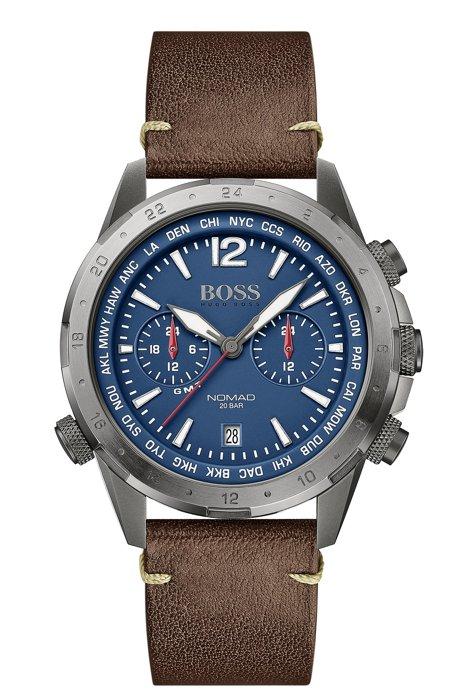 Montre chronographe à double fuseau, avec bracelet en cuir, Marron foncé