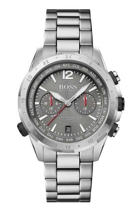 Dual-time chronograph watch in grey-plated stainless steel, Silver