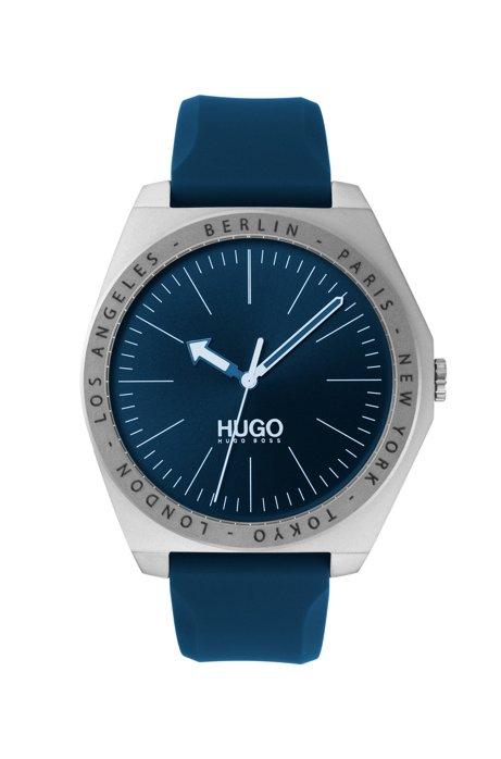 Uhr aus Edelstahl mit Silikonarmband und gravierter Lünette, Blau