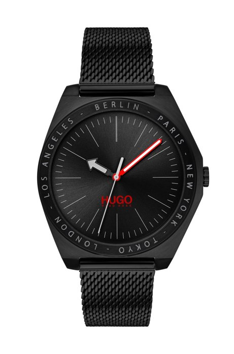 Black-plated watch with engraved city names and mesh strap, Black