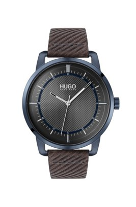 Textured-dial watch with embossed leather strap, Dark Brown