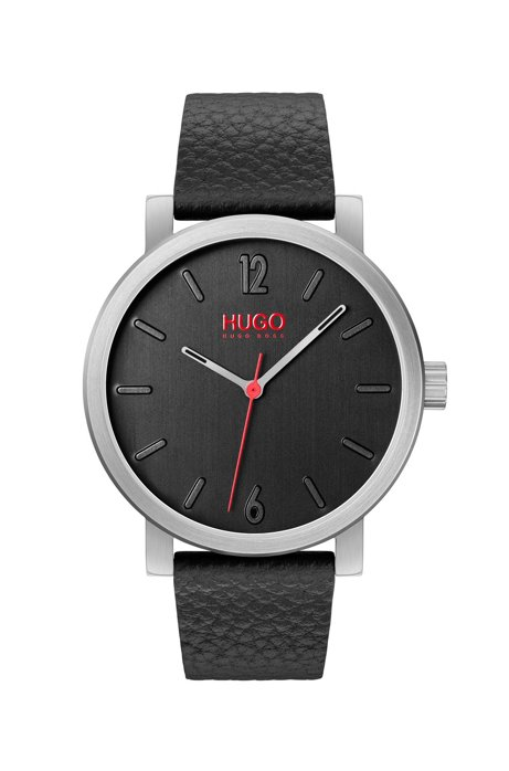 Round watch with vertical-brushed dial and slim leather strap, Black