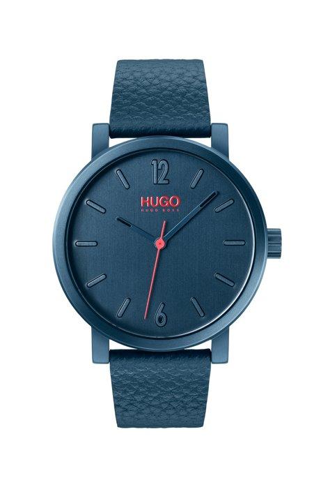 Uhr aus blau beschichtetem Edelstahl mit Lederarmband, Blau