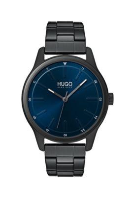 Reloj con pulsera de eslabones y esfera azul, Negro
