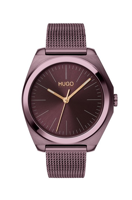 Mesh bracelet watch with aubergine case, Dark Purple