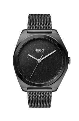 Black-plated watch with stardust-effect dial, Black