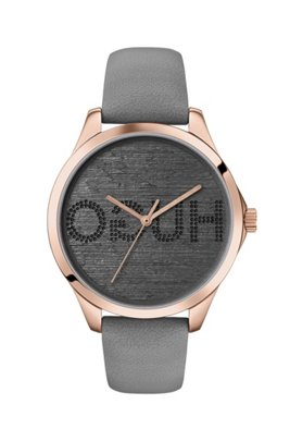 Carnation-gold-effect watch with reverse-logo dial, Grey