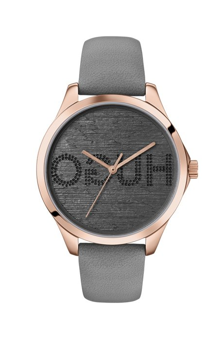 Carnation-gold-plated watch with embossed reverse-logo dial, Grey