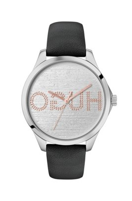 Leather-strap watch with embossed reverse-logo dial, Black