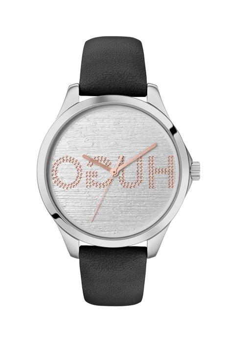 Reloj con correa de piel y esfera grabada con logo invertido, Negro