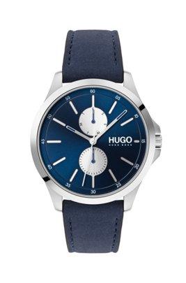 Chronograph aus Edelstahl mit blauem Lederarmband und Totalisatoren, Blau
