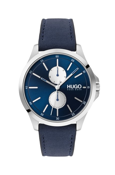 Multi-eye chronograph watch with blue-leather strap, Blue
