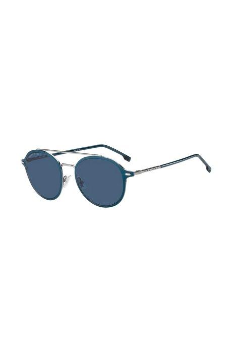 Lunettes de soleil en acétate bleu à double pont effet argenté, Assorted-Pre-Pack