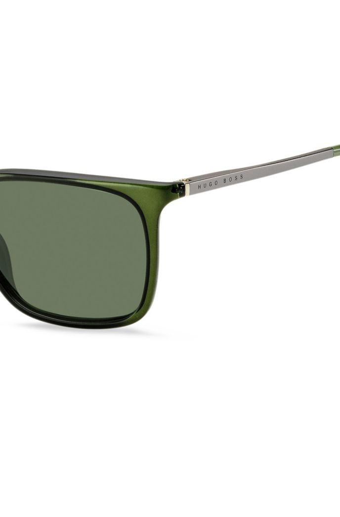 Green-optyl sunglasses with hardware temples