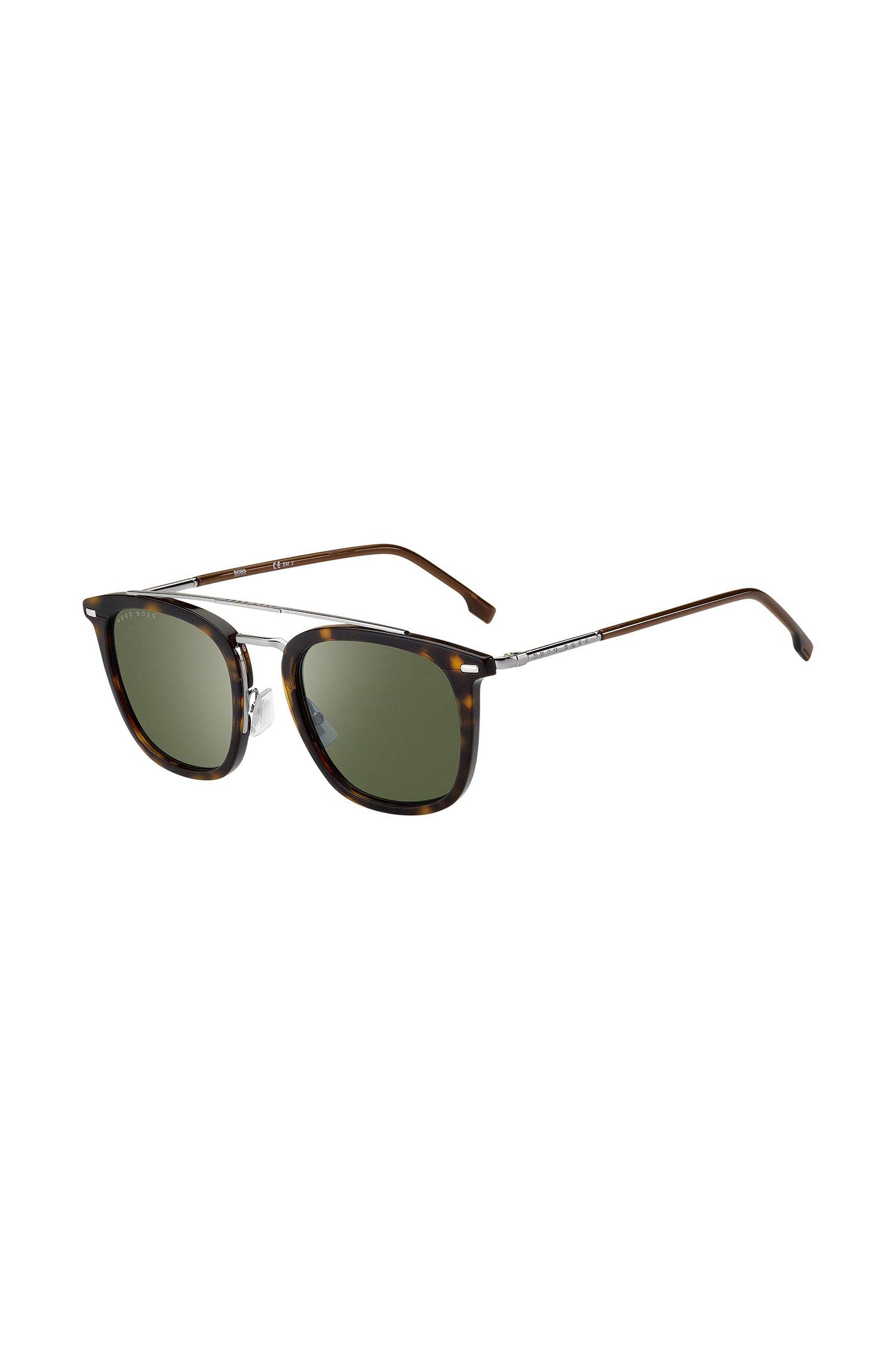 Sonnenbrille aus Acetat mit Havanna-Muster und grünen Gläsern, Assorted-Pre-Pack
