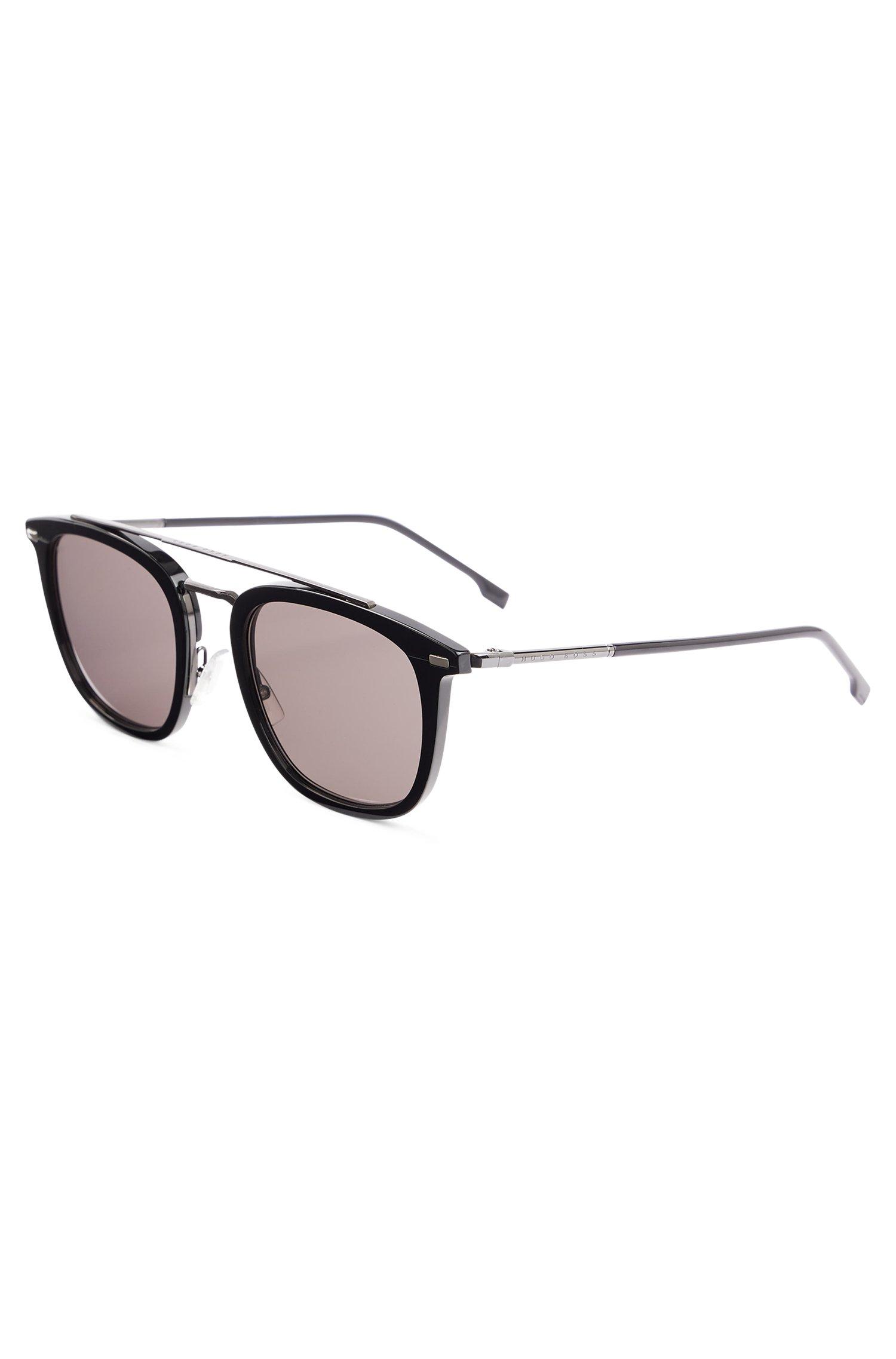Sonnenbrille aus schwarzem Acetat mit Doppelsteg und röhrenförmigen Bügeln, Assorted-Pre-Pack