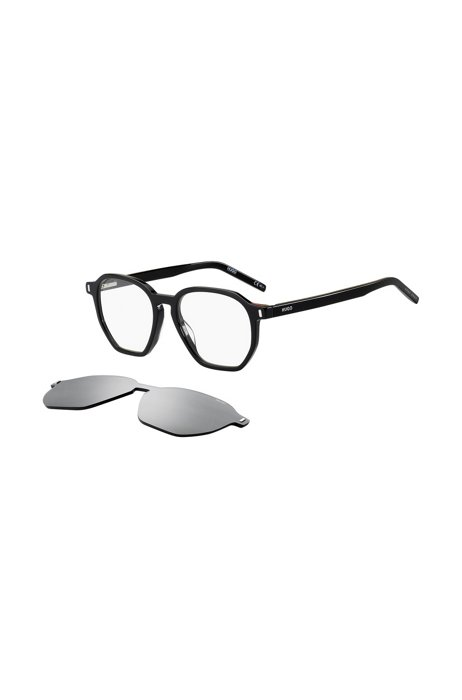 Black optical frames with multi-layered white clip-on, Assorted-Pre-Pack
