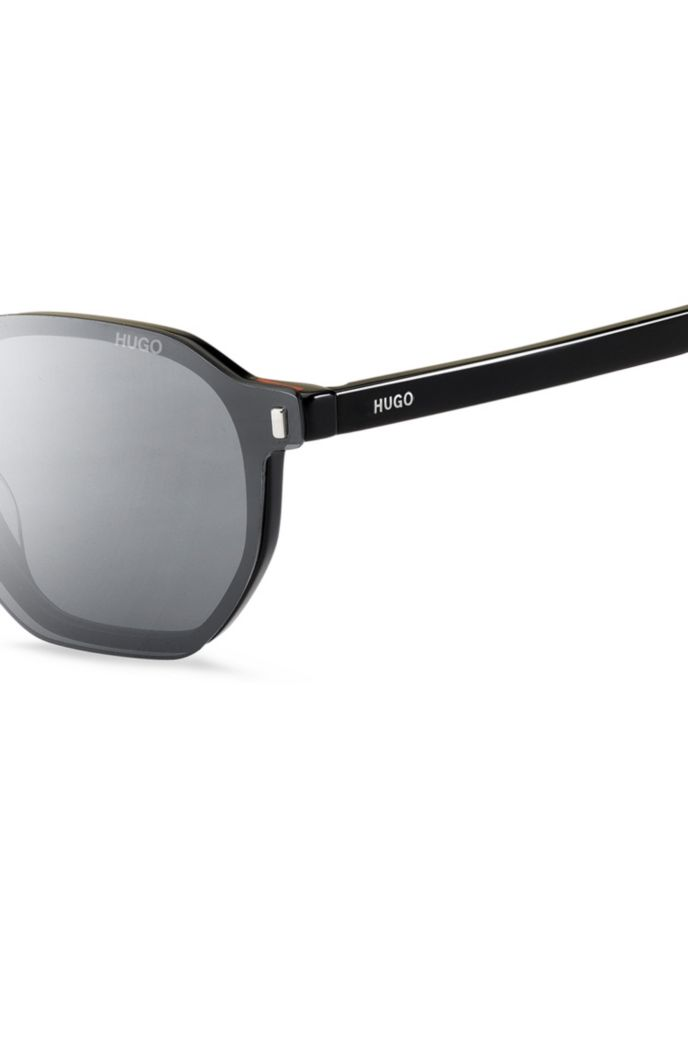 Black optical frames with multi-layered white clip-on