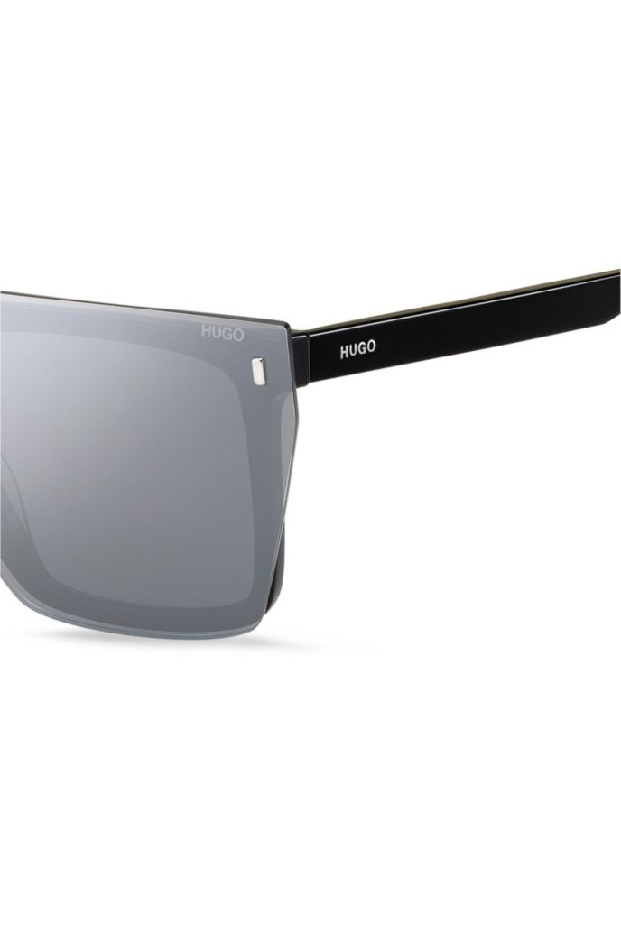 Black-acetate sunglasses with silver mirrored clip-on mask