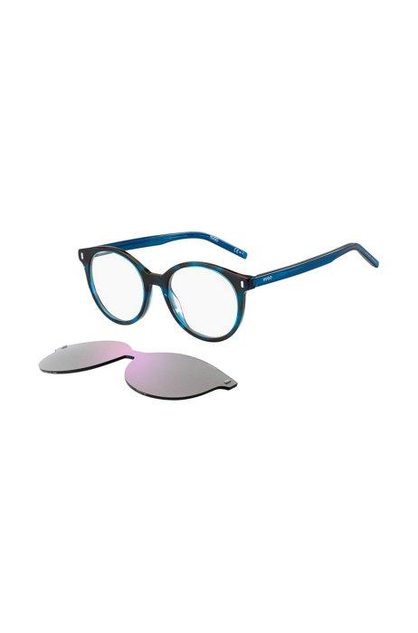 Blue-Havana optical frames with violet clip-on, Assorted-Pre-Pack